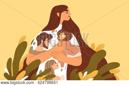 Happy Woman Feeling Love, Affection And Emotional Attachment To Her Family. Positive Inner Emotions