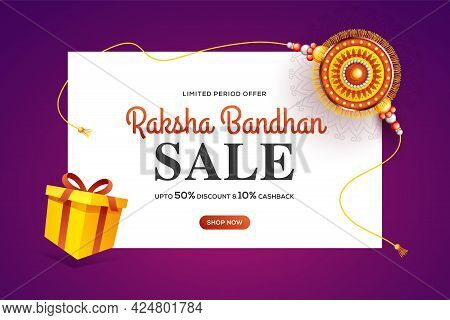 Creative Background With Decorated Rakhi And Gift For Raksha Bandhan Sale  - Indian Festival Of Sist