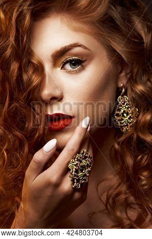 Fashionable Female Portrait Of Cute Lady Indoors. Close Up Beautiful Model Girl In Elegant Pose With