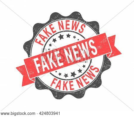 Fake News. An Impression Of A Seal Or Stamp With Scuffs. Grunge Style. Flat Design