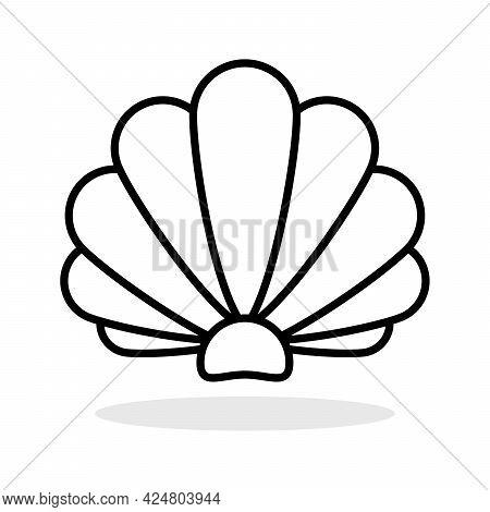 Sea Shell Icon. Linear Pearl Shell Icon. Vector Illustration. Shell Vector Icon. Black Linear Sea Sh