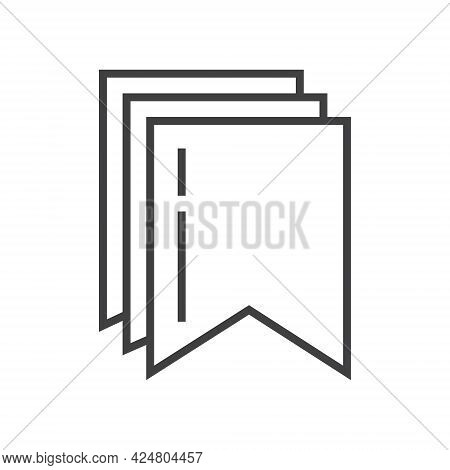 Bookmark Tag, Label Icon Vector In Outline Style. Bookmark Line Symbol