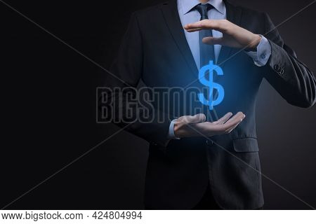 Successful International Financial Symbol Sinvestment Concept With Businessman Man Person Hold Showi