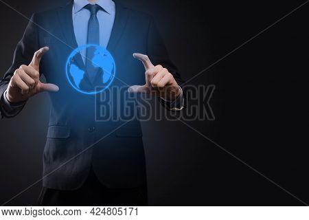 Businessman Man Hand Holding Earth Icon , Digital Globe