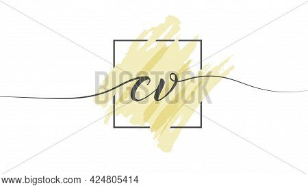 Calligraphic Lowercase Letters Cv In A Single Line On A Colored Background In A Frame. Vector Illust
