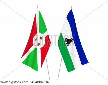 National Fabric Flags Of Lesotho And Burundi Isolated On White Background. 3d Rendering Illustration