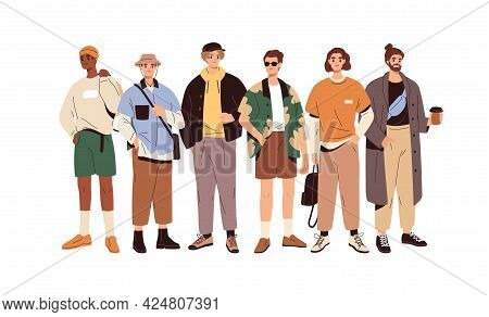 Group Portrait Of Fashion Men In Modern Trendy Outfits. Young People Wearing Stylish Casual Summer C
