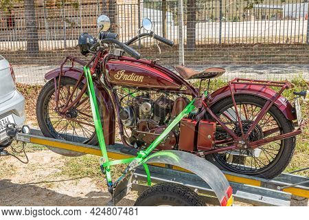 Villiersdorp, South Africa - April 12, 2021: A Vintage Red Indian Scout Motorcycle On A Trailer