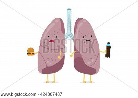 Unhealthy Sick Lungs Cartoon Character Eat Fast Food And Drink Soda. Human Respiratory System Intern
