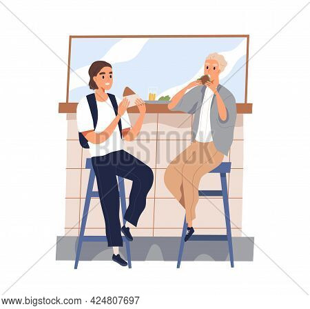 Friends Meeting And Eating Out Together. Young Men Sitting On Bar Stools With Street Food In Summer