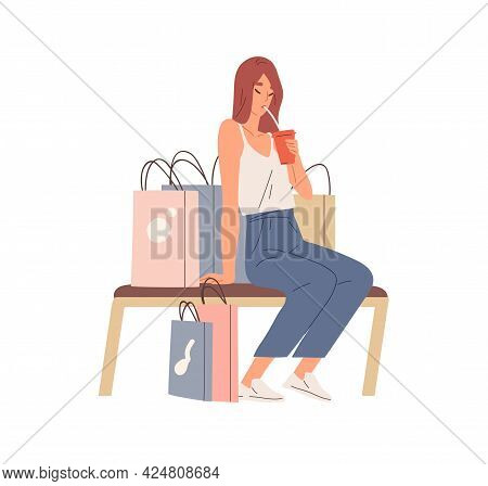 Tired Woman Resting After Summer Shopping. Young Female Sitting On Bench With Refreshing Drink And L