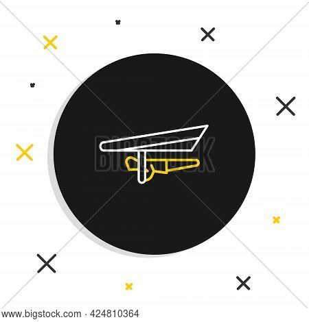 Line Hang Glider Icon Isolated On White Background. Extreme Sport. Colorful Outline Concept. Vector