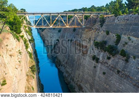 Corinth Canal Separating Mainland Greece From Peloponnese