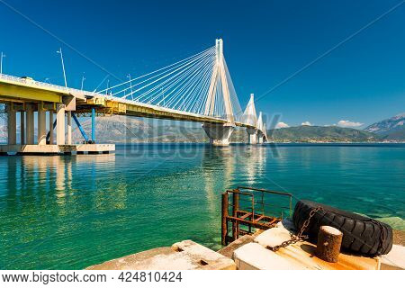 Modern Bridge Rion-antirion. The Bridge Connecting The Cities Of Patras And Antirrio, Greece