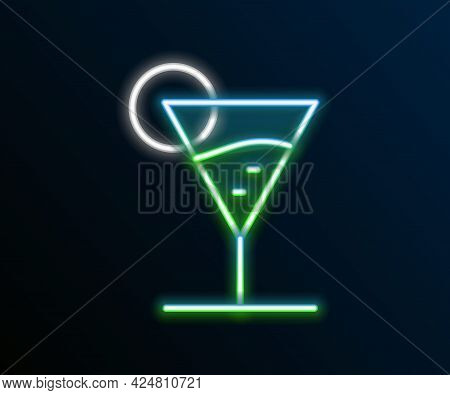 Glowing Neon Line Martini Glass Icon Isolated On Black Background. Cocktail Icon. Wine Glass Icon. C