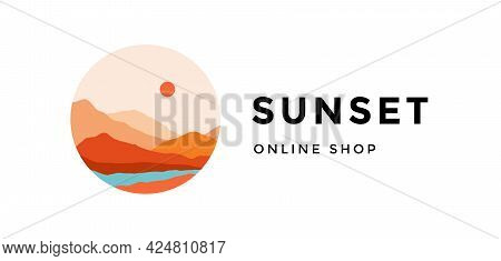 Logo, Logotype, Sign. Sunset, Online Shop. Logo With Abstract Landscape Mountain, Sky And Sunset Vie