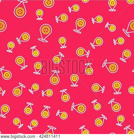 Line Location Tailor Shop Icon Isolated Seamless Pattern On Red Background. Vector