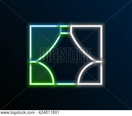 Glowing Neon Line Curtain Icon Isolated On Black Background. For Theater Or Opera Scene Backdrop, Co