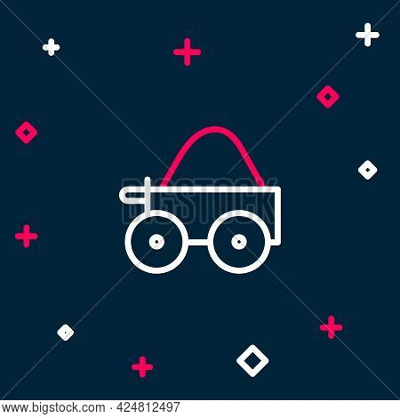 Line Wooden Four-wheel Cart With Hay Icon Isolated On Blue Background. Colorful Outline Concept. Vec