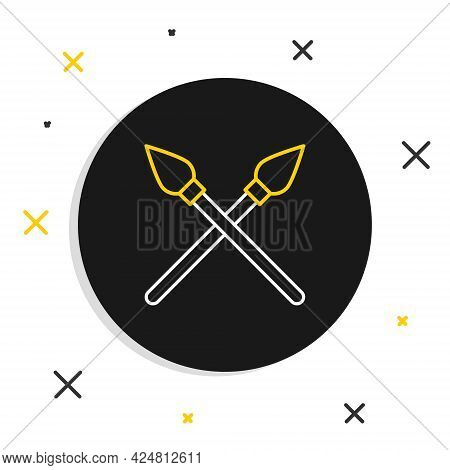Line Crossed Medieval Spears Icon Isolated On White Background. Medieval Weapon. Colorful Outline Co