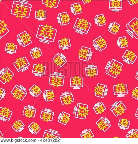 Line System Bug On Monitor Icon Isolated Seamless Pattern On Red Background. Code Bug Concept. Bug I