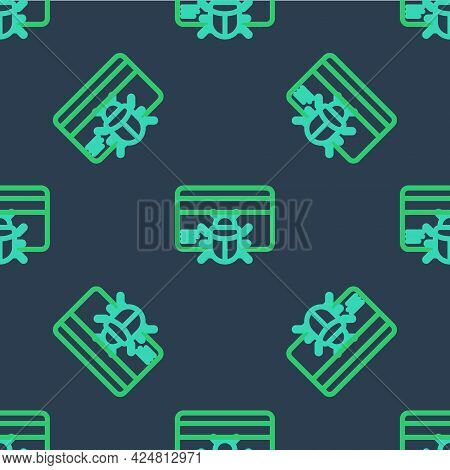 Line System Bug In Credit Card Icon Isolated Seamless Pattern On Blue Background. Code Bug Concept.