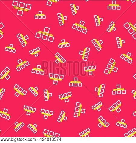 Line Business Hierarchy Organogram Chart Infographics Icon Isolated Seamless Pattern On Red Backgrou