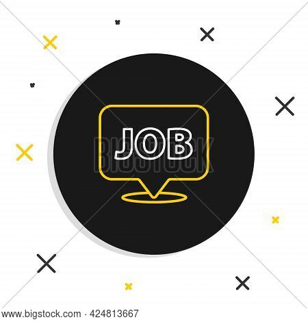 Line Speech Bubble With Job Icon Isolated On White Background. Recruitment Or Selection Concept. Sea