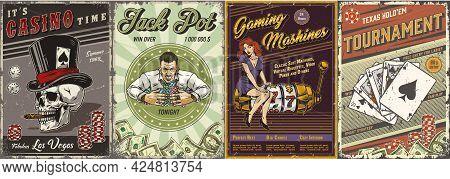Gambling Vintage Posters Set With Gambler Skull Smoking Cigar Pretty Lady Sitting On Slot Machine Do