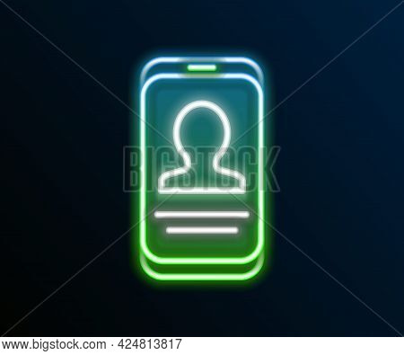 Glowing Neon Line Mobile With Resume Icon Isolated On Black Background. Cv Application. Searching Pr