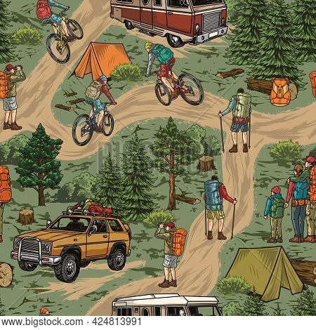 Outdoor Recreation Vintage Seamless Pattern With Hikers Bicycle Travelers Motorhome Travel Car Tents