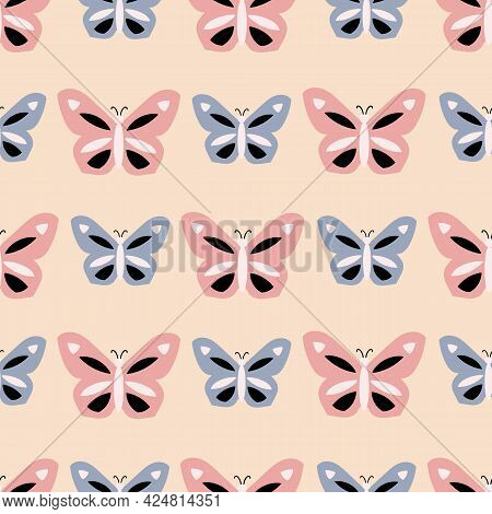 Pink And Blue Butterfly Geometric Striped Pattern On Tan Background