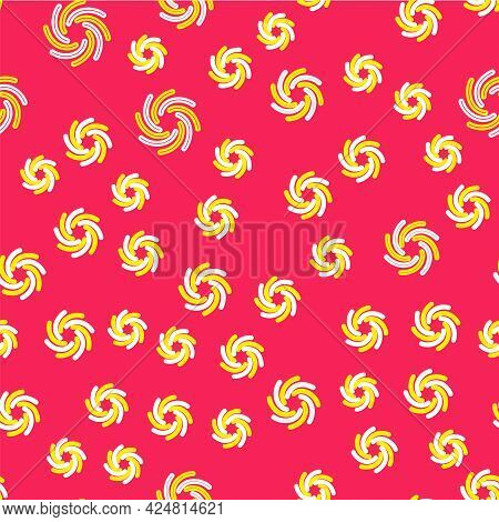 Line Tornado Icon Isolated Seamless Pattern On Red Background. Cyclone, Whirlwind, Storm Funnel, Hur