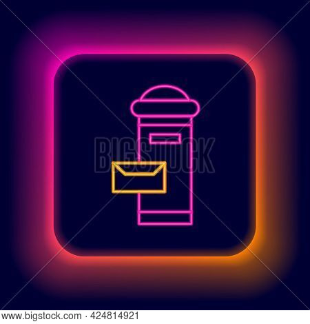 Glowing Neon Line Traditional London Mail Box Icon Isolated On Black Background. England Mailbox Ico
