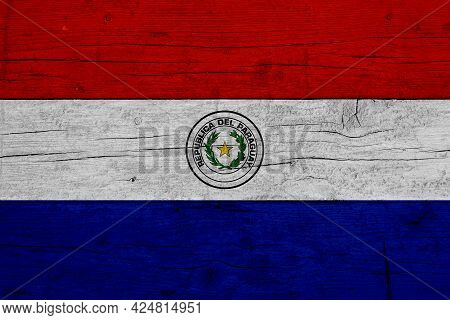 Flag Of Paraguay. Wooden Texture Of The Flag Of Paraguay.