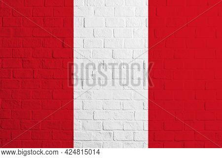 Flag Of Peru. Brick Wall Texture Of The Flag Of Peru.