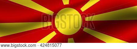 Banner With The Flag Of Northern Macedonia. Fabric Texture Of The Flag Of Northern Macedonia.