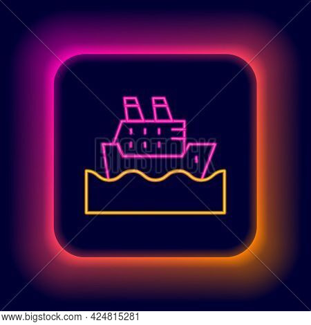 Glowing Neon Line Cruise Ship In Ocean Icon Isolated On Black Background. Cruising The World. Colorf