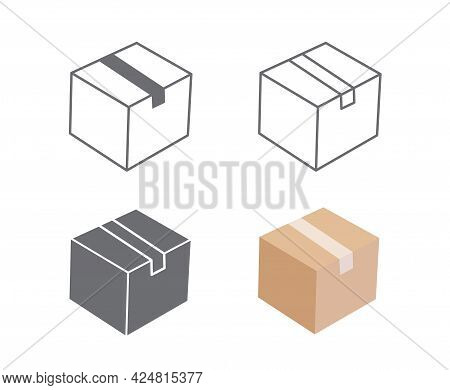 Cardboard Box Icon And Carton Packaging Box Isolated On A White Background. Closed Box. Design For W
