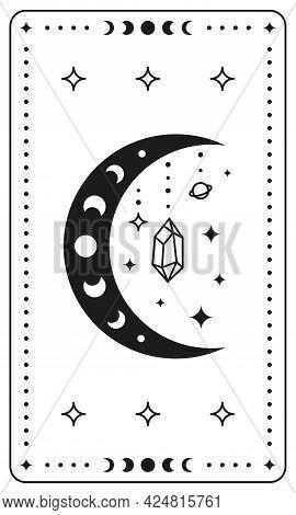 Black Magic Occult Tarot Card With Boho Symbols.