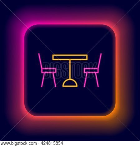 Glowing Neon Line Picnic Table With Chairs On Either Side Of The Table Icon Isolated On Black Backgr