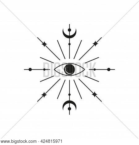 Third Eye With Crescent Moon And Starburst.