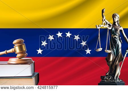 Law And Justice In Venezuela. Statue Of Themis And The Gavel Of The Judge Against The Background Of