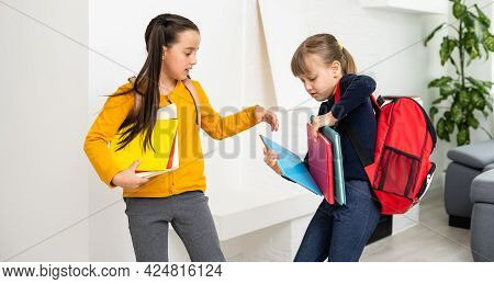 Two Pupils Of Elementary School, Back To School.