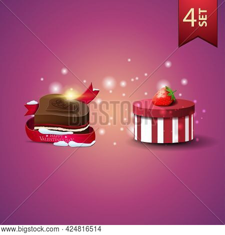 Collection Of Realistic Valentines Day Icons. Box Of Chocolates And Candy