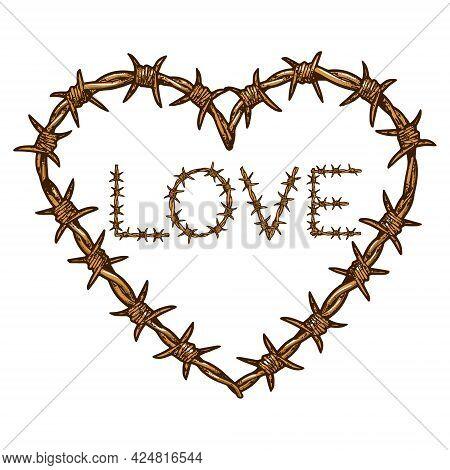 Heart Symbol Love Barbed Wire Color Line Art Sketch Engraving Vector Illustration. Romantic Love Lov