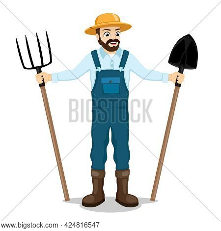 Illustration Of A Farmer With A Pitchfork And A Shovel In His Hands On A White Background.