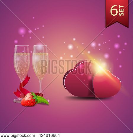Collection Of Realistic Valentines Day Icons. Glass Of Champagne And Volumetric Hearts