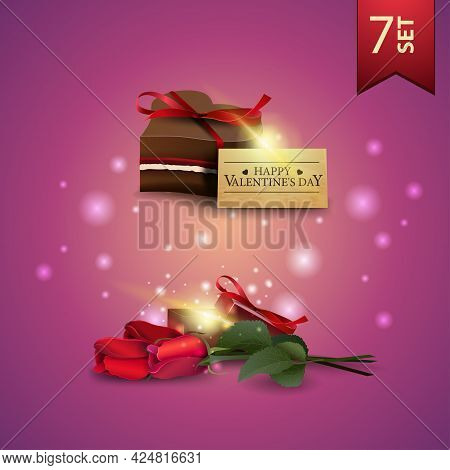 Collection Of Valentines Day Icons. Roses And Chocolate Candy