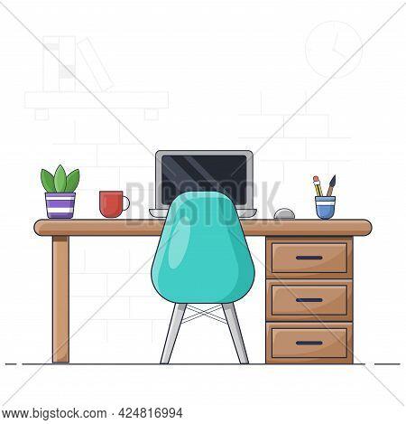 Workplace Room, Home Office , Workstation Setup. Illustration Vector